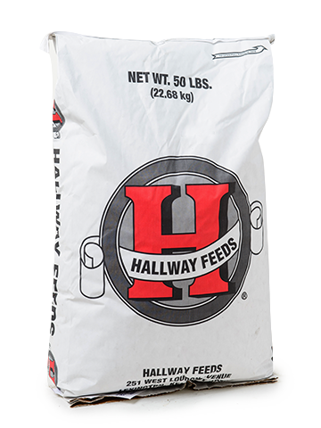 Hallway Feeds bag with red logo.