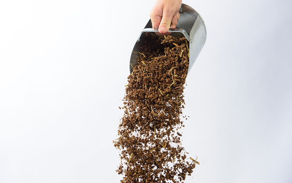 High fat horse feed, Fibrenergy, being poured out of a metal scoop against a white background.